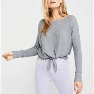 Abercrombie & Fitch Cozy Tie-Front Top GREY